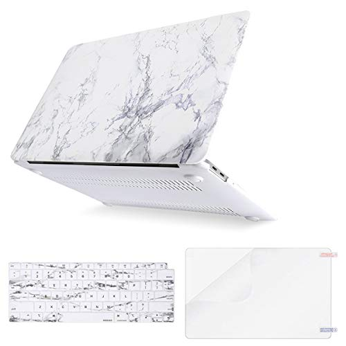 MOSISO MacBook Air 13 inch Case 2019 2018 Release A1932 with Retina Display, Plastic Pattern Hard Shell & Keyboard Cover & Screen Protector Only Compatible with MacBook Air 13, White Marble (Apple Macbook Pro 13 With Retina Display 2019 Best Price)