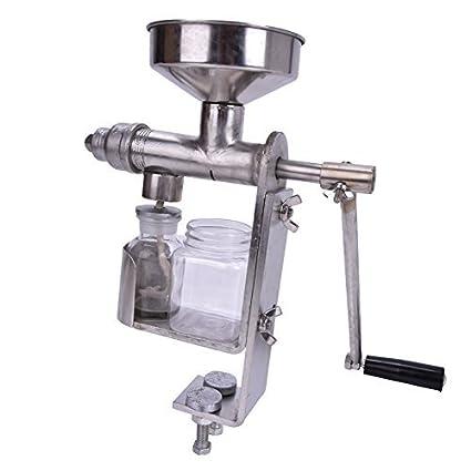 CGOLDENWALL Máquina de Prensa Manual para Aceite Expulsor de Aceite de Hogar de Acero Inoxidable HY-03 para Semillas de Maní Girasol Té Sésamo Nueces Soja y ...