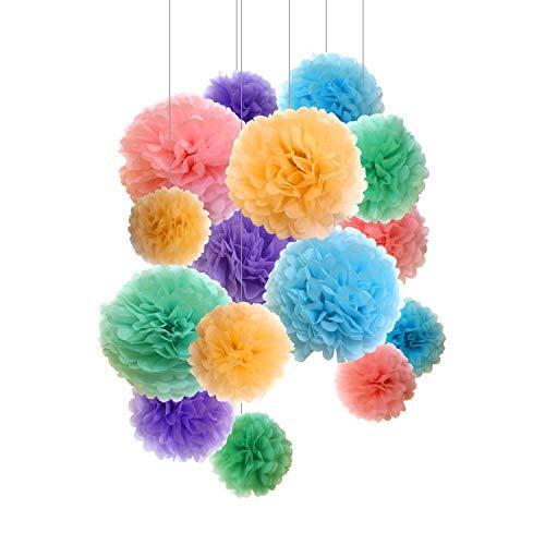 Pompones de papel, flores de papel, para decoracion y celebracion de fiestas. 15 unidades de 20, 25, 36 cm