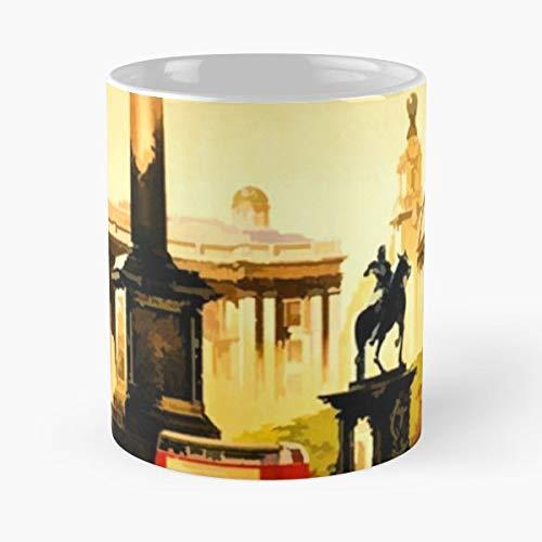 London Trafalgar Square Vintage Travel Poster Sticker - Morning Coffee Mug Ceramic Best Gift 11 Oz (Square Trafalgar London)