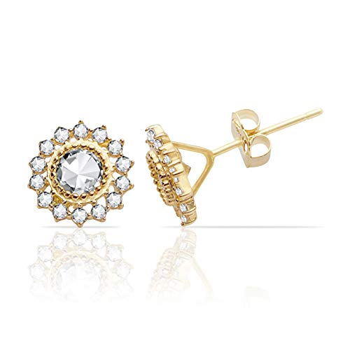 Jewel Connection Solid 14k Yellow Gold Sunflower CZ Stud Earrings for Women and Girls ()