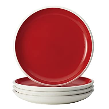 Rachael Ray Dinnerware Rise Collection 4-Piece Stoneware Dinner Plate Set, Red