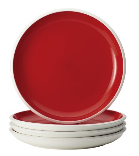 Rachael Ray Dinnerware Rise 4-Piece Stoneware Dinner Plate Set, Red