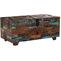"""Festnight Multifunctional 2-in-1 Coffee Table with 3 Storage Compartments and 1 Drawer Wooden Storage Cabinet Box Reclaimed Wood End Side Table 31.5"""" x 15.7"""" x 13.8"""""""