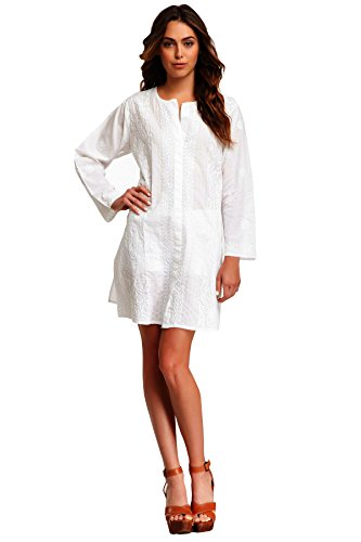 KC-Signatures-100-Cotton-Pleated-and-Embroidered-Womens-Top-Tunic-Coverup