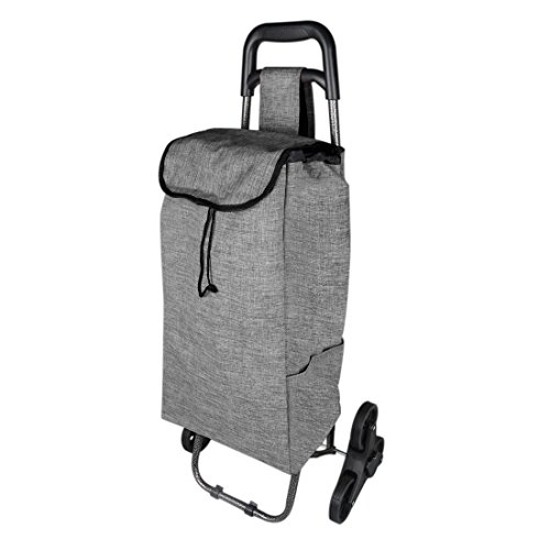 uxcell Stair Climber Trolley, Lightweight Collapsible Multipurpose Shopping Grocery Folding Utility Cart with Wheel for Laundry, Camping and Sport Events, Dark Gray ()