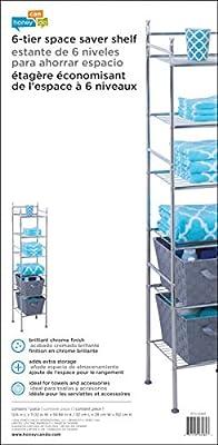 Honey-Can-Do BTH-03484 6-Tier Metal Tower Bathroom Shelf, Chrome, 12Lx59H