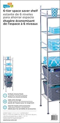 Honey-Can-Do BTH-03484 6 Tier Metal Tower Bathroom Shelf, 12.6 x ...