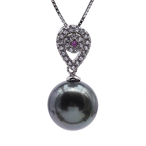 JYX Pearl Heart Pendant AAA Quality 10.5mm Black Round Tahitian Cultured Pearl Pendant Necklace for Women