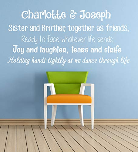 Personalized 'Brother & Sister' Poem, Vinyl Wall Art Sticker. Mural, Decal. Home, Wall Decor. Children's Bedroom, Playroom, Nursery. Siblings