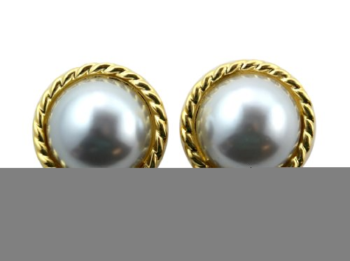 (Round Gold Tone Pearl Stud Earring Gold Tone Rope Trim w/ Grey Faux Pearl)
