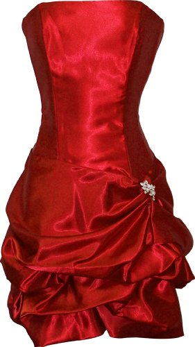 Strapless Satin Bubble Dress Prom Formal Holiday Party Cocktail Gown Bridesmaid, Medium, red