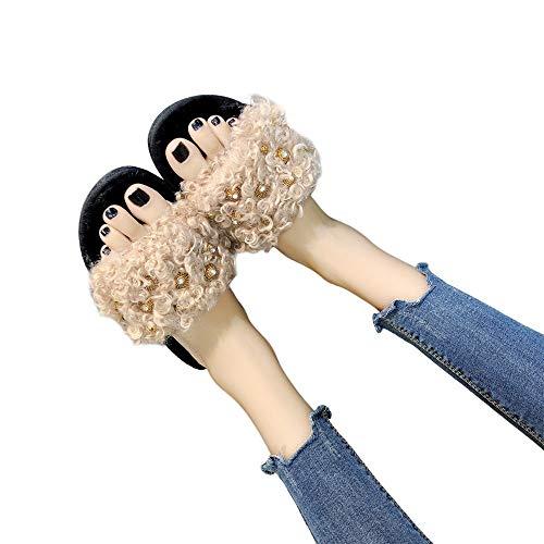 Women Open Slippers Slippers Toe Soft Winter Fur Flat Slip Shoes Warm Indoor On Khaki Voberry fdp1qvf