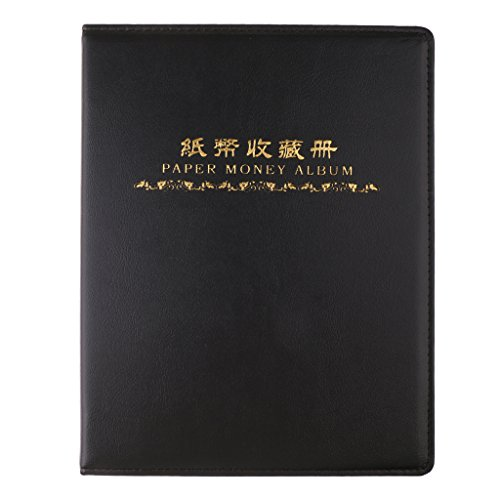 Fityle 60 Pockets Leather Paper Money Album Collect Book Banknote Currency Collection Album Holder 10 sheets Black Durable