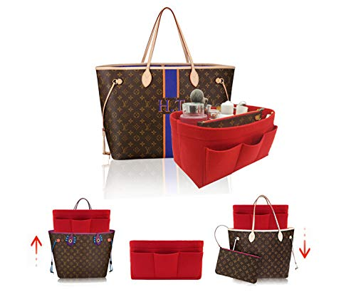 LEXSION Felt Handbag Organizer,Insert purse organizer Fits Speedy Neverfull 8001 Red ()