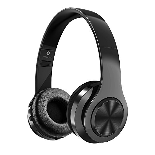 GIARIDE Bluetooth Headphones Active Noise Cancelling Stereo Wireless Headset with TF Card Input, Aux line, Soft Earmuffs, Built-in Mic and Foldable Deign for PC, Cell Phones, TV, Video Game Black by GIARIDE