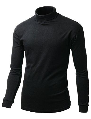 Xpril Double Long Sleeve Layer Turtleneck T-Shirt Black Size XL