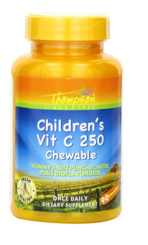 Thompson Vitamin C, Children's with Acerola Tablets, Punch Flavor, 250 Mg, Chewable, 90 Count (Pack of 2)