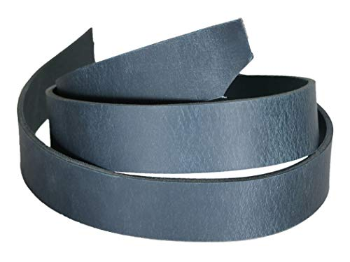 Crazy Horse Navy Water Buffalo Leather Belt Strip, Fully Aniline Dyed Straps, 48-50