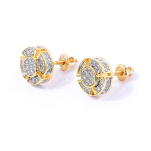 SHINY.U 925 Sterling Silver Iced out CZ Premium Diamond Cluster Zirconia Round Screw Back Stud Earrings for Men Hip Hop Jewelry (Gold Small -
