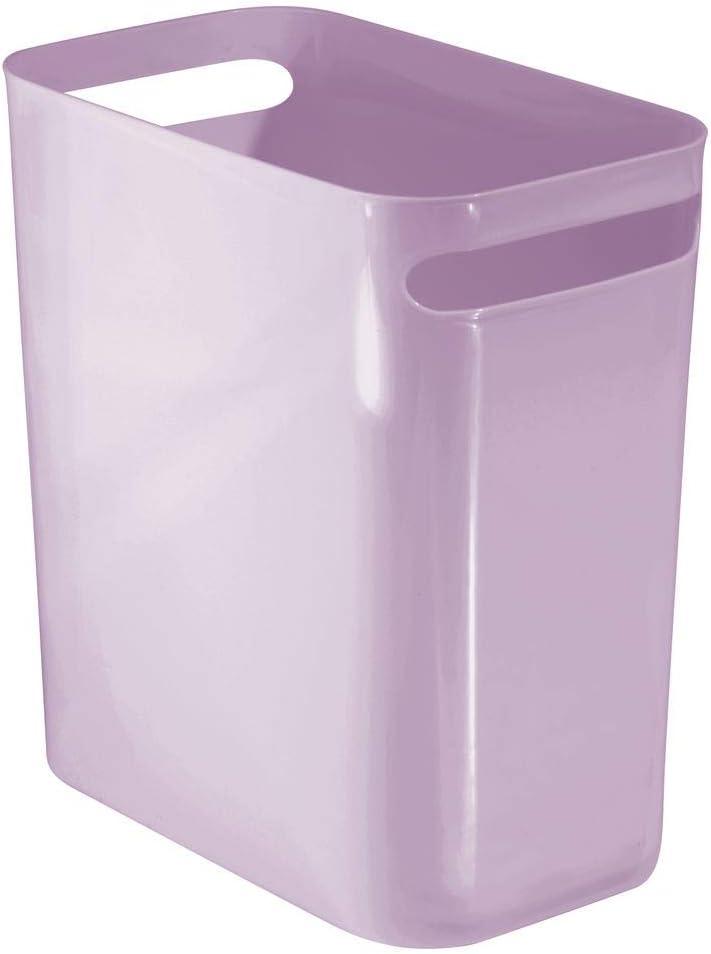 "mDesign Slim Plastic Rectangular Large Trash Can Wastebasket, Garbage Container Bin with Handles for Bathroom, Kitchen, Home Office, Dorm, Kids Room - 12"" High, Shatter-Resistant - Wisteria Purple"