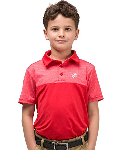 Three Sixty Six Youth Boys Golf Dri Fit Polo Shirt, Breathable Performance Fit Fire Red