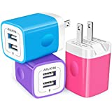 3Pack AILKIN Fold Wall Charger, USB Charging Plug, AC Adapter Cube Fast Charging Block Box for iPhone SE/11Pro Max/XS/XR…