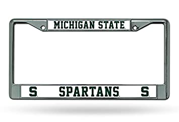 ncaa michigan state spartans chrome plate frame - Michigan State License Plate Frame
