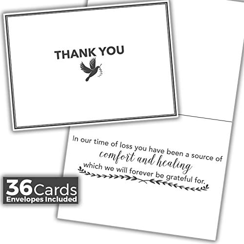 Funeral Sympathy Thank You Cards - 36 Cards + Envelopes Included For Expressing Gratitude to Friends, Family, Loved Ones ()