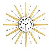 Reloj de pared Metal decorativo con 25 pulgadas Reloj de pared de madera sin marco Reloj de cuarzo operado a batería artística con manecillas Árabe Número numeral silencioso Arte de la pared para la s