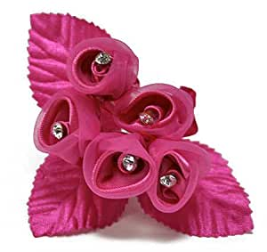 "6-1"" Sheer Fuschia Colored Flower Bouquets with Rhinestone Stamens"