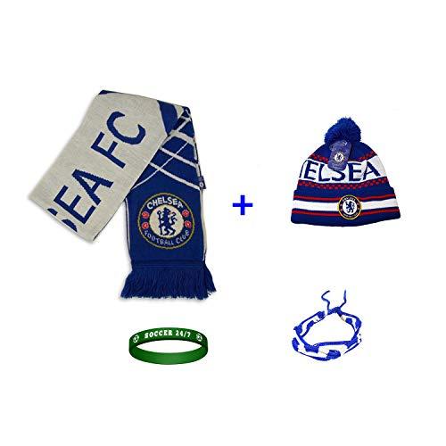 Chelsea FC Soccer Set Beanie Skull Cap Hat and Scarf Reversible + 2 Bracelet Set 4 Pcs CHEL001