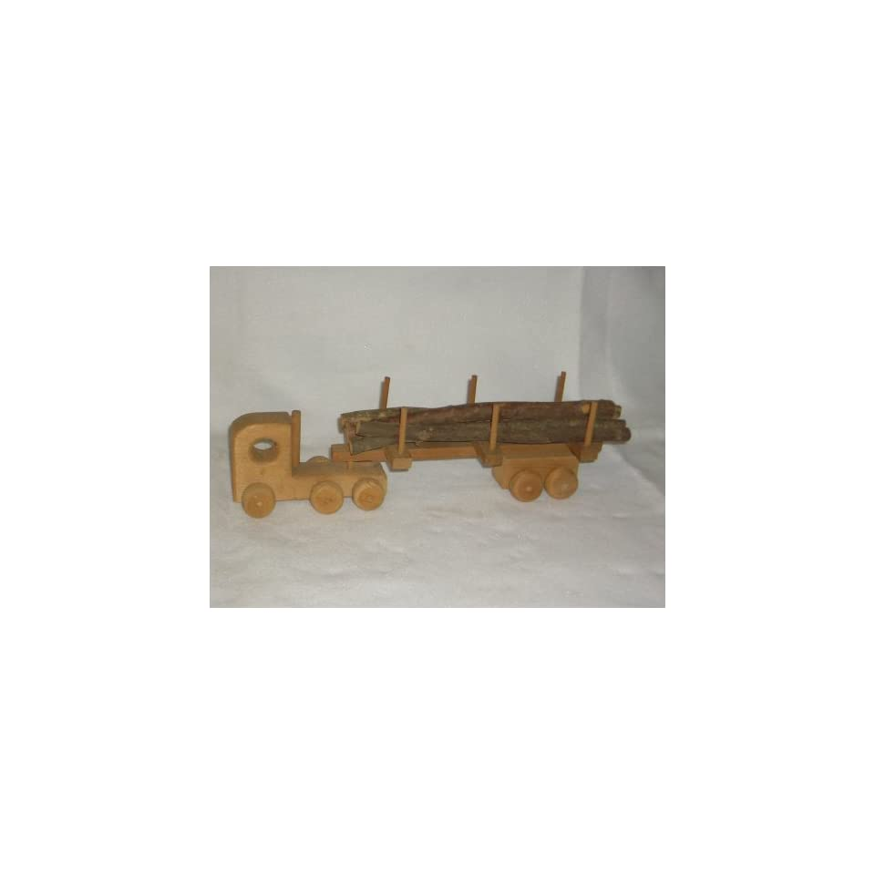 Archie Buckhalt Toy Wooden Semi truck and Trailer with Log Carrier