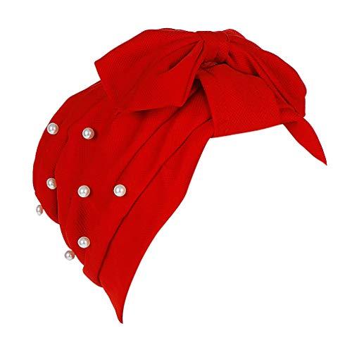 YEZIJIN Women Beading Bow India Hat Muslim Ruffle Cancer Chemo Beanie Turban Wrap Cap 2019 New Red ()