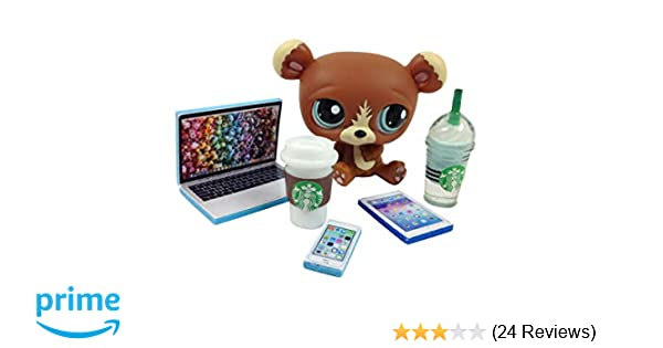 happyblockbuilder LPS Accessories Littlest Pet Shop 5 pc. Lot Set: Laptop, Tablet, Phone, + 2 Drinks; PET NOT Included