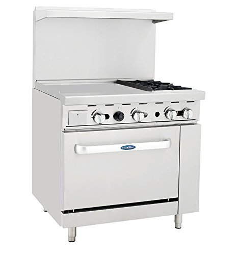 Atosa ATO-24G2B 36'' Gas Range. (2) Open Burners and 24'' Griddle on the LEFT with One 26'' 1/2 Wide Oven