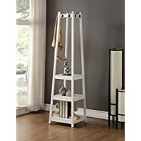 Coat Rack Stand with 3-Tier Storage Shelves and Hooks, White Finish