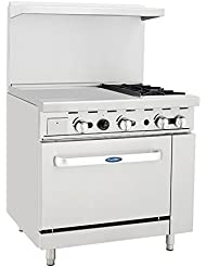 Atosa ATO 24G2B 36 Gas Range 2 Open Burners And 24 Griddle On The LEFT With One 26 1 2 Wide Oven