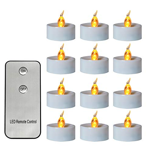 - Yellow Flameless Battery-operated Unscented Fake Tealights Candles with Remote Control 24pcs Realistic Votive Flickering LED Tea Lights Candle for Home,Wedding,Love,Table Valentine's Day Decor