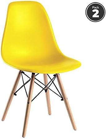 Regalos Miguel - Packs Sillas Comedor - Pack 2 Sillas Tower Basic - Amarillo - Envío Desde España: Amazon.es: Hogar