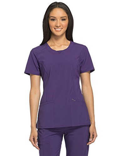 Cherokee Infinity Women's Split Round Neck Solid Scrub Top X-Large Grape