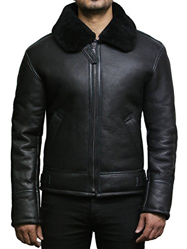 Brandslock Mens Real Shearling Sheepskin Leather Flying Jacket (X-Large, Black)