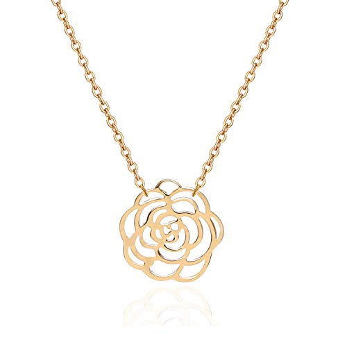 18K Gold Chain Choker Rose Flower Pendant Necklace Handmade Fashion Jewelry for Women Girls Adjustable Charm Necklace Gift for Valentine's Day Christmas Present
