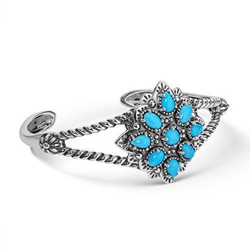 American West - Sterling Silver & Turquoise Floral Cluster Cuff Bracelet - Average - Classics (Sterling Silver Turquoise Cluster Bracelet)