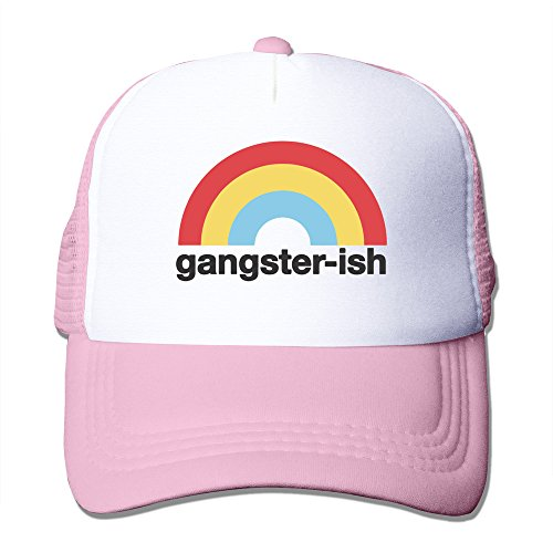 (WZN Gangster Ish Colorful Rainbow Polyester Foam Caps With Pink)