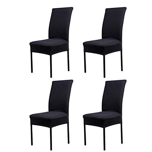 4x Stuhlhussen Strech Dining Chair Bezug waschbar Stuhl-Abdeckung für Hotel, Haus Dekoration, Hochzeitsessen Stuhlhusse - Schwarz