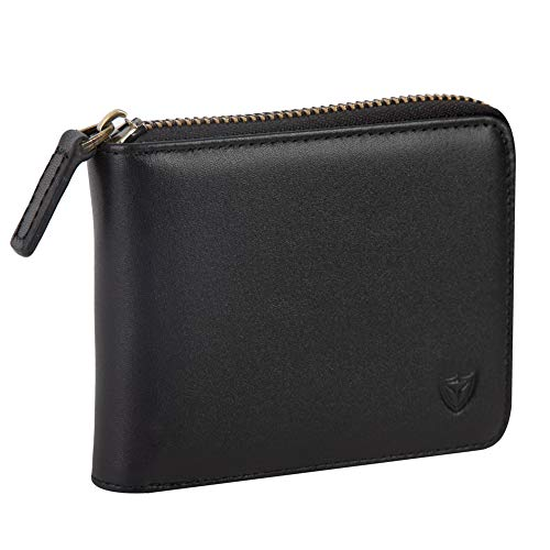 Mens Genuine Leather Zipper Wallet, Upgrade RFID Blocking, Multi Card Holder Purse with Bifold ID Window and Coin Pocket (Black)