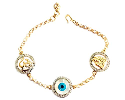 Aumkaara Om, Evil Eye and Sai Ram 6.25 inch Bracelet with 14mm Charms in Gold Studded with Natural Diamonds and with Adjustable ()
