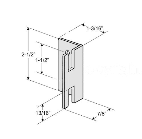 Chrome Plated Keeper for Throw Latch for Restroom Partition Doors - 1-1/2'' Between Mounting Hole Centers