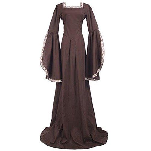 Elizabethan Queen Adult Plus Costumes (Partiss Womens Vintage Renaissance Medieval Irish Costume Victorian Gothic Dress,XXL,Coffee)